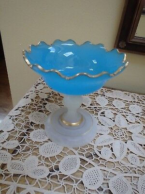 Antique Gold Gilt & French Blue Opaline Pedestal Candy Dish