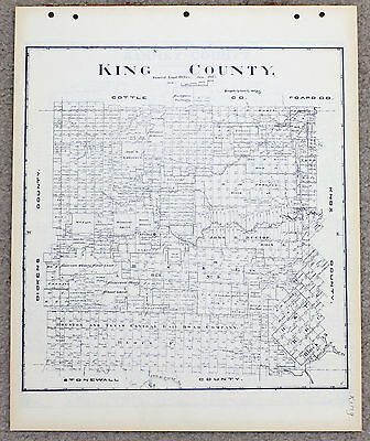1903 King County Texas Map Land Office Guthrie Blue Line Plats Railroad Lands