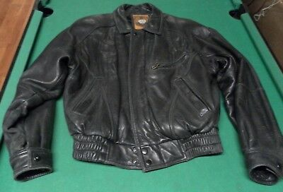 Vintage IOU 1997 Leather Collection Jacket Black Mens Size Small