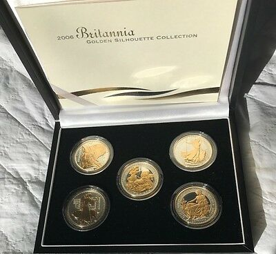 2006 Brittania Silver proof with gold silhouettes  5 x  one ounce coins set