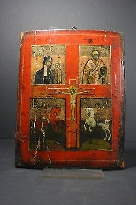 Antique Russian Orthodox Icon on Wood, 1st half 19th Century MONASTERY ASSET