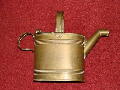Vintage Antique 5 Pint Heavy Solid Brass Water Can Stamped Registered Trade Mark