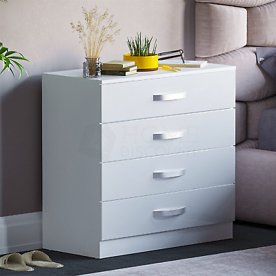 Hulio High Gloss Chest Of Drawers Black Walnut 5 Drawer Bedroom Furniture New