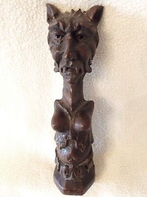Antique Oak Carving Of A Harpy Or Female Vampire