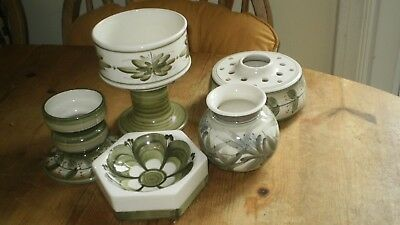 5 Pieces Of Jersey Pottery - Various Shaped Vases & Pin Dish