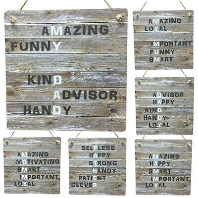 Mothers Day Gifts Mum Dad Rustic Wooden Mother Father Sign MDF Meaning Plaque