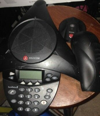 POLYCOM SOUNDSTATION 2 CONFERENCE SYSTEM W/ Ex MICROPHONE & WALL MODULE