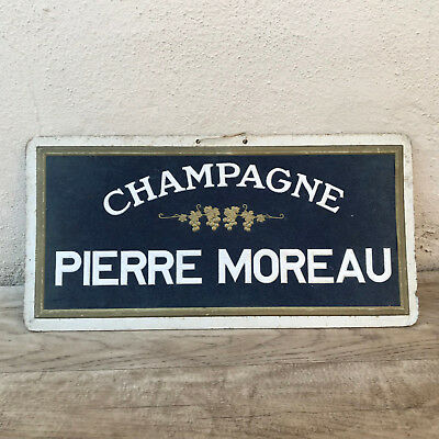 Vintage French cardboard CHAMPAGNE MOREAU Wall Sign Plaque Tag 1902184