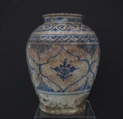 Antique Medieval Islamic Mamluk Blue And & Ceramic Jar Mameluke 15 Century AD