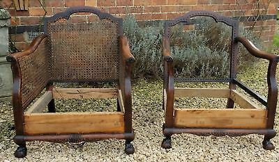 Two Antique Bergere Chair Frames