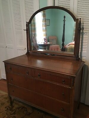 Antique Vanity Dresser With Mirror