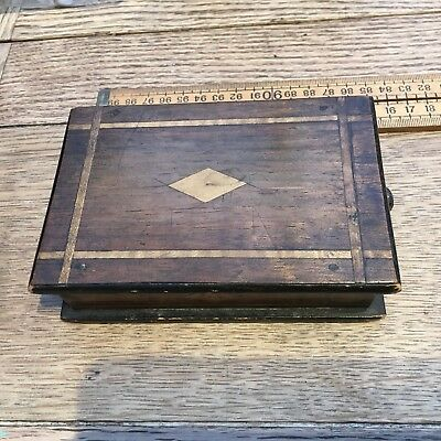 Nice Antique Wooden Box With Drawer And Inlaid Wood, Small Antique Wooden Box