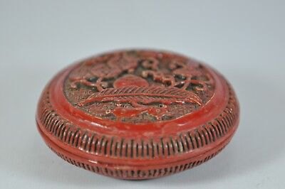 Estate Fine China Chinese Carved Round Cinnabar Lacquer Box Scholar Art