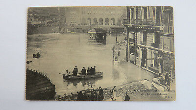 1910 Vintage Postcard Seine Great Flood Paris La Gare St Lazare Railway Station