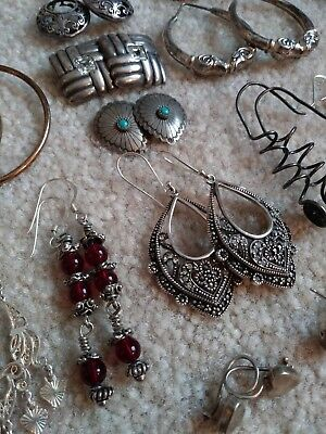 Huge Earring lot - All Sterling Silver - 20 Pairs - ALL WEARABLE - Not Scrap