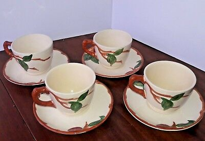 "Vintage Gladding McBean & Co. Franciscan ""Apple"" Pattern 1950's  Cups and Saucer"