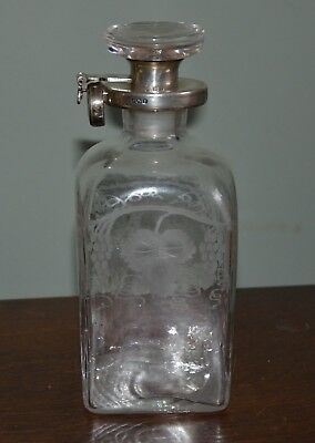 Hukin and Heath Silver Mounted Decanter, lockable, Hallmarked Birmingham 1923