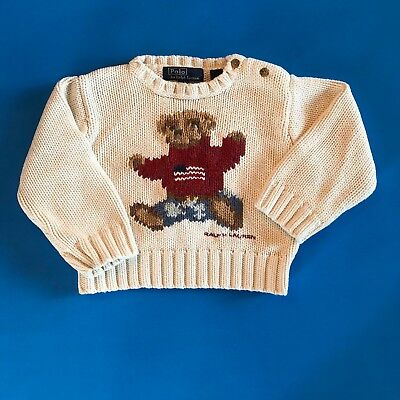 Polo Ralph Lauren Bear Knit Sweater Baby Infant L XL White American Flag Buttons