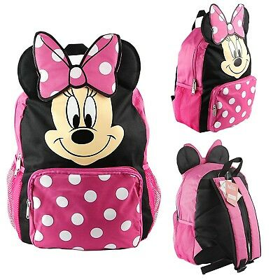 """Disney Minnie Mouse Girls 12"""" Toddler School Backpack Canvas Book Bag..."""