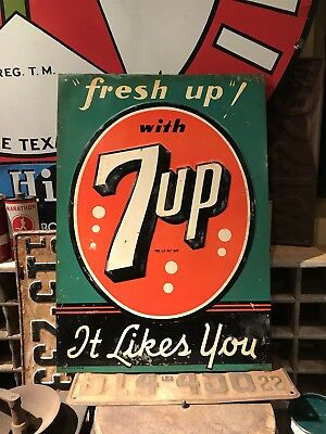 Original 1930's 7-Up Soda Pop Stout General Store Tin Advertising Sign