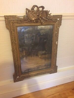 French Antique Gesso Shabby Chic Mirror