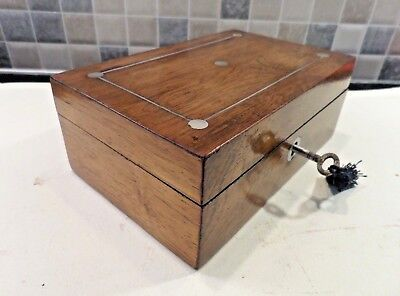 Victorian Small Inlaid Rosewood Sewing Box With Tray- Orig.interior - Lock & Key