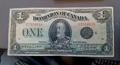 Canada Paper  Dollar 1923 Very Rare! Nice Condition  No Reserve!