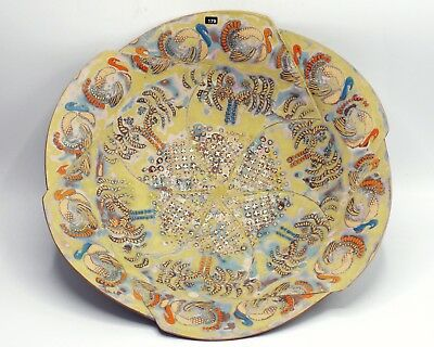 """PAM WRIGHT Large Gold Lustre Stoneware Bird Bowl 2, Peter Dingley Gallery, 14"""""""