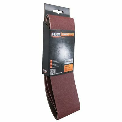 FERM 3 Sanding Belt Fine Coarse Power Sander 75 x 533 mm 60 80 120 Grit BSA1013