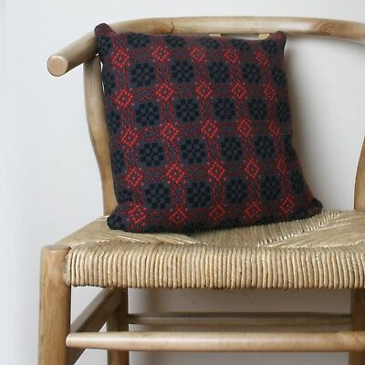 Vintage 1960's Welsh Wool Tapestry Cushion Black Grey Red Feather Filled