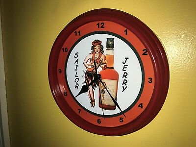 ***Sailor Jerry Pin-Up Tattoo Parlor Rum Bar Advertising Red Wall CLock Sign