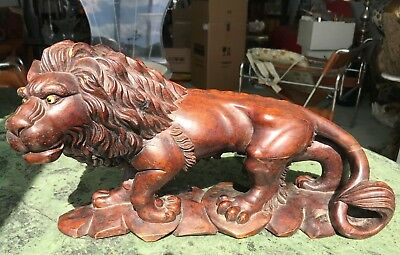 Antique Hand Carved Lion Sculpture Italian/French Mahogany Wood Gothic Statue