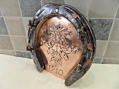 Arts & Crafts Horseshoe Key Holder With Embossed Copper Panel Dated 1910