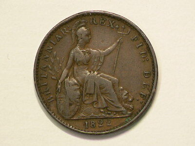 Great Britain 1822 Farthing KM# 677 King George IIII #G9343