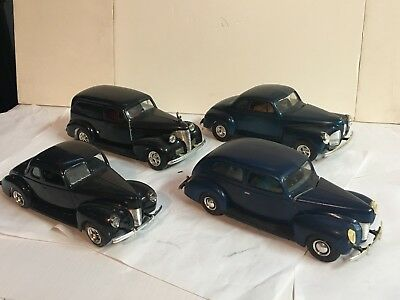 Vintage Lot of 4 Hot Rod Models 1970's 39 Chevy 40 Ford Plymouth?  Free Ship!!