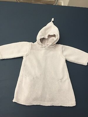 Designer Bonpoint Cotton Burnous with Hood Beige 6 months