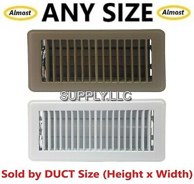FLOOR REGISTER Steel AC Vent Heat Air Duct Cover Grille Metal Brown White x