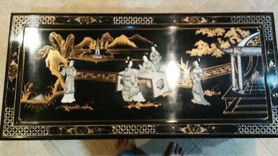 Vintage ASIAN Black Lacquer Coffee Table Mother Of Pearl INLAY Claw Foot Ornate
