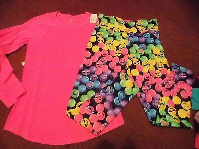 justice girls size -20-=-2 piece top and legging set--nwt-smiley faces