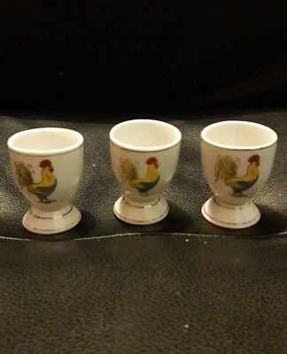 3 Vintage egg cups, chicken, cockerel, china egg cups.
