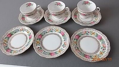 Gorgeous Set of 3 TeaCups and 3 Saucers with 3 side plates by Royal Standard