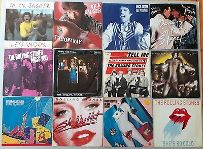 "PICTURE SLEEVES ~ ROLLING STONES ~ MICK JAGGER ~ LOT of 12 diff ~ 7"" 45 sleeves"