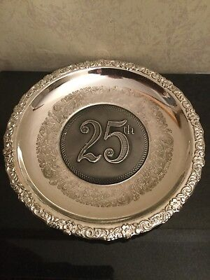 Vintage Silver Plated Wall Plate Embossed With The Numbers 25th