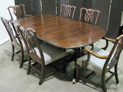 Statton Furniture Solid Cherry Federal Style Dining Table & 6 Chippendale Chairs