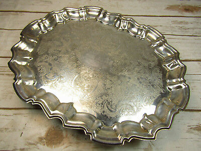 Vintage Leonard Silver Plate Serving Tray Floral Pattern Footed