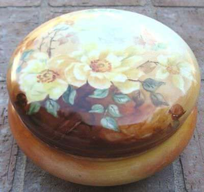 Large Antique French Limoges Hand Painted Powder Jar Circa 1900 Artist Signed