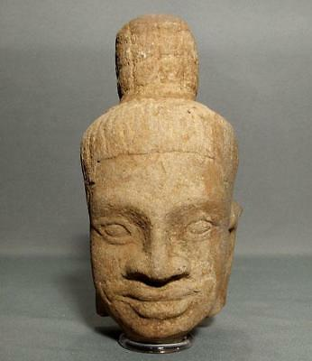 Authentic Antique Khmer Sandstone Head Of Shiva Bayon Period 12th Century AD