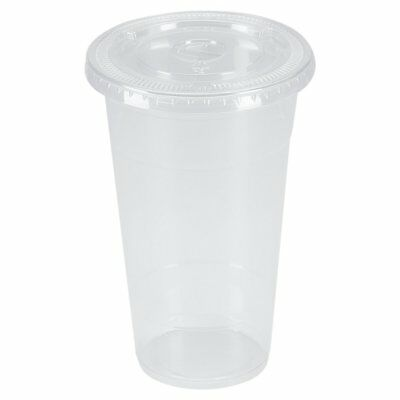 Benail 100 Sets 24 oz. Plastic CRYSTAL CLEAR Cups with Flat Lids for Cold Drinks