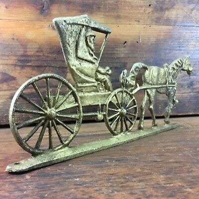 Interesting Vintage Alloy Relief Ornament Horse Drawn Buggy Carriage