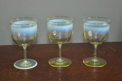 Set of 3 Fine Victorian Opalescent Vaseline Uranium Wine Glasses